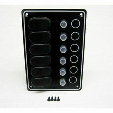 6 GANG 12v WATERPROOF MARINE CIRCUIT BREAKER SWITCH PANEL (10061-BK) boat yacht